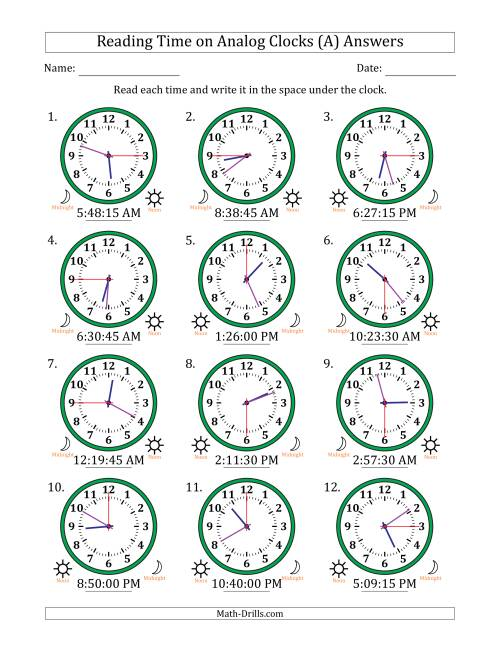 The Reading Time on 12 Hour Analog Clocks in 15 Second Intervals (A) Math Worksheet Page 2