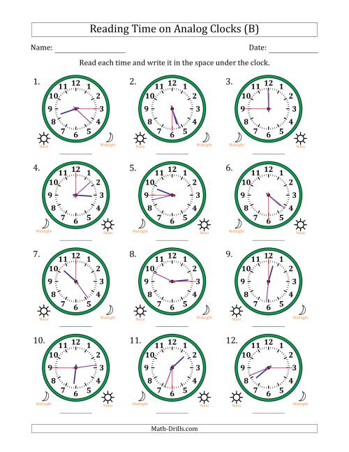 The Reading 12 Hour Time on Analog Clocks in 15 Second Intervals (12 Clocks) (B) Math Worksheet