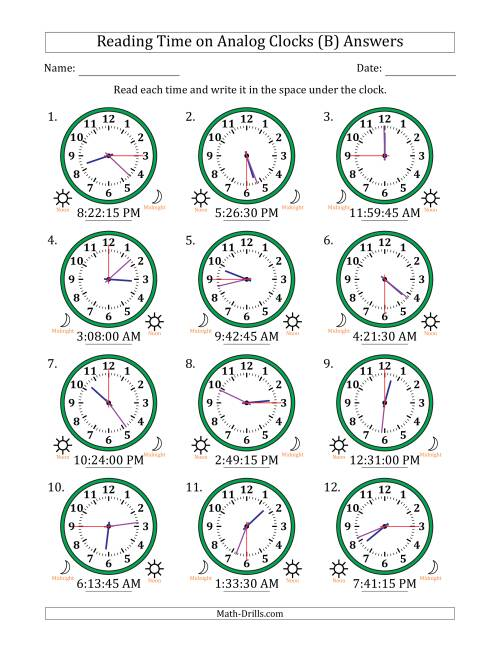 The Reading 12 Hour Time on Analog Clocks in 15 Second Intervals (12 Clocks) (B) Math Worksheet Page 2