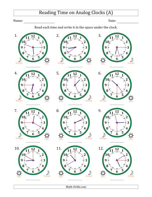 The Reading 12 Hour Time on Analog Clocks in 15 Second Intervals (12 Clocks) (All) Math Worksheet