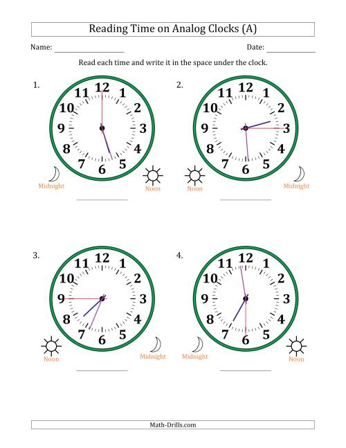 The Reading Time on 12 Hour Analog Clocks in 15 Second Intervals (Large Clocks) (A) Math Worksheet