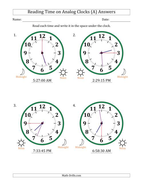 The Reading Time on 12 Hour Analog Clocks in 15 Second Intervals (Large Clocks) (A) Math Worksheet Page 2