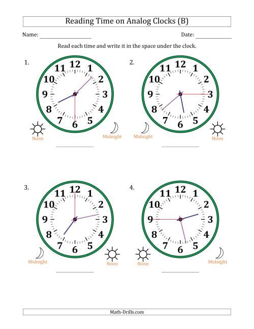 The Reading Time on 12 Hour Analog Clocks in 15 Second Intervals (Large Clocks) (B) Math Worksheet