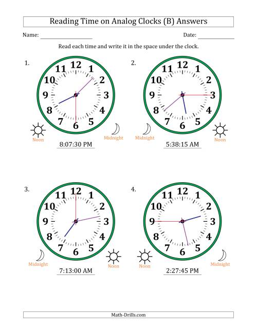 The Reading Time on 12 Hour Analog Clocks in 15 Second Intervals (Large Clocks) (B) Math Worksheet Page 2