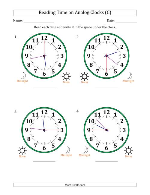 The Reading Time on 12 Hour Analog Clocks in 15 Second Intervals (Large Clocks) (C) Math Worksheet