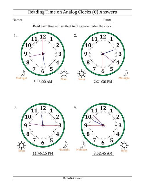 The Reading Time on 12 Hour Analog Clocks in 15 Second Intervals (Large Clocks) (C) Math Worksheet Page 2