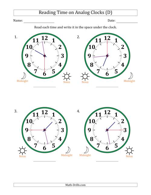 The Reading Time on 12 Hour Analog Clocks in 15 Second Intervals (Large Clocks) (D) Math Worksheet