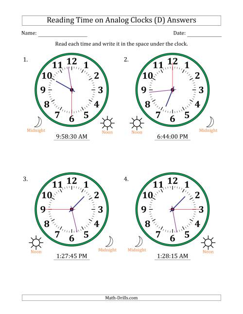 The Reading Time on 12 Hour Analog Clocks in 15 Second Intervals (Large Clocks) (D) Math Worksheet Page 2