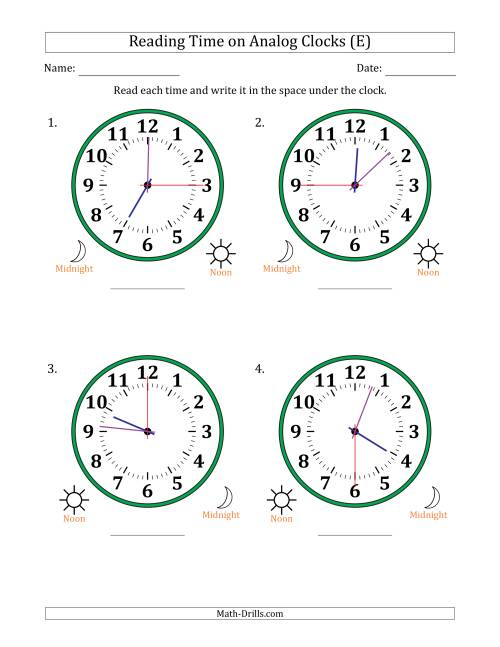 The Reading Time on 12 Hour Analog Clocks in 15 Second Intervals (Large Clocks) (E) Math Worksheet