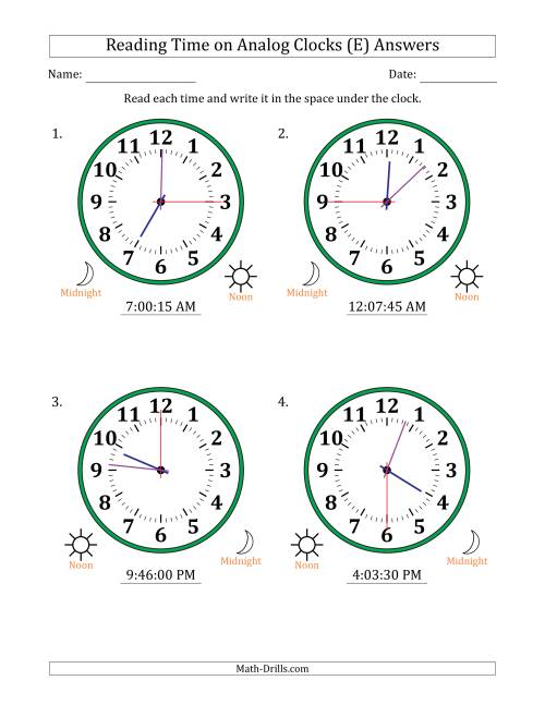 The Reading Time on 12 Hour Analog Clocks in 15 Second Intervals (Large Clocks) (E) Math Worksheet Page 2