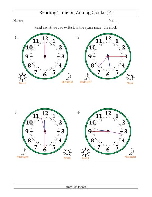 The Reading 12 Hour Time on Analog Clocks in 15 Second Intervals (4 Large Clocks) (F) Math Worksheet