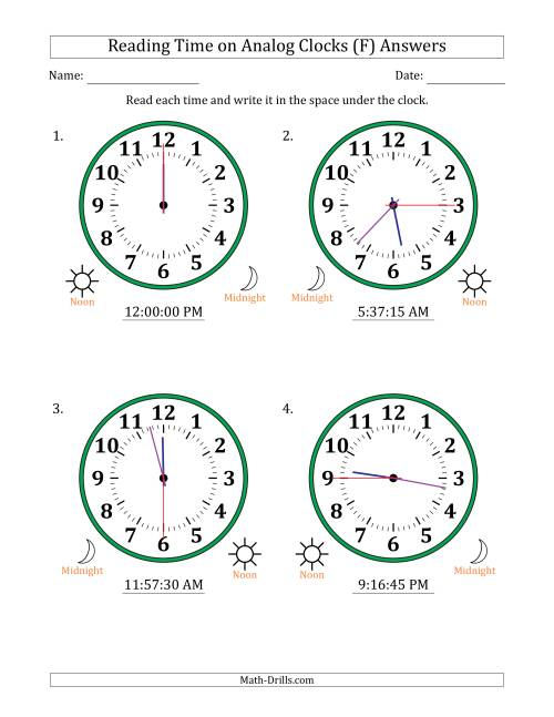 The Reading Time on 12 Hour Analog Clocks in 15 Second Intervals (Large Clocks) (F) Math Worksheet Page 2