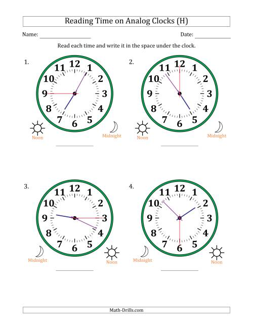 The Reading Time on 12 Hour Analog Clocks in 15 Second Intervals (Large Clocks) (H) Math Worksheet