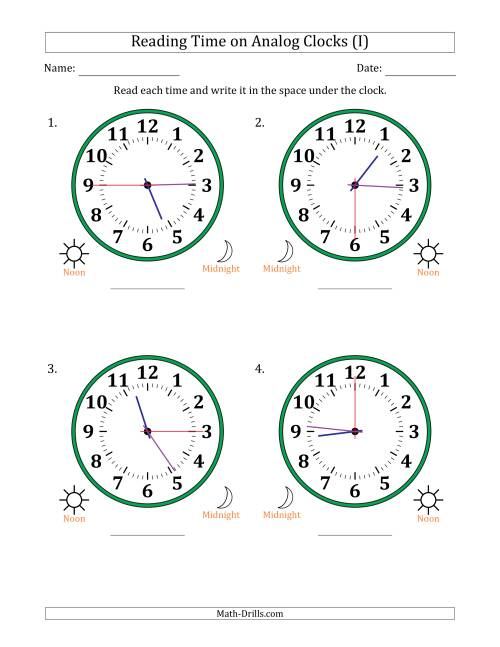 The Reading Time on 12 Hour Analog Clocks in 15 Second Intervals (Large Clocks) (I) Math Worksheet