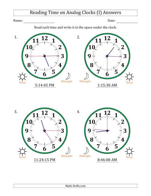 The Reading Time on 12 Hour Analog Clocks in 15 Second Intervals (Large Clocks) (I) Math Worksheet Page 2