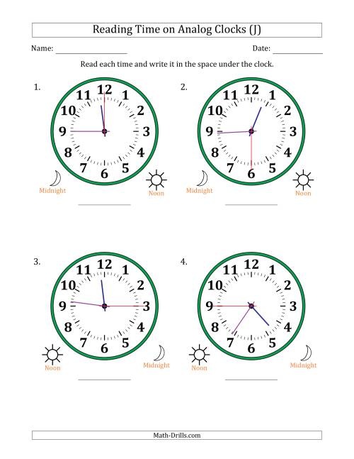 The Reading Time on 12 Hour Analog Clocks in 15 Second Intervals (Large Clocks) (J) Math Worksheet
