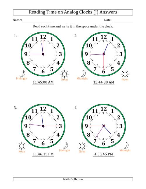 The Reading Time on 12 Hour Analog Clocks in 15 Second Intervals (Large Clocks) (J) Math Worksheet Page 2