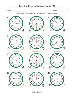 Time and clock worksheets reading 12 hour time in 30 second intervals 12 clocks ibookread PDF