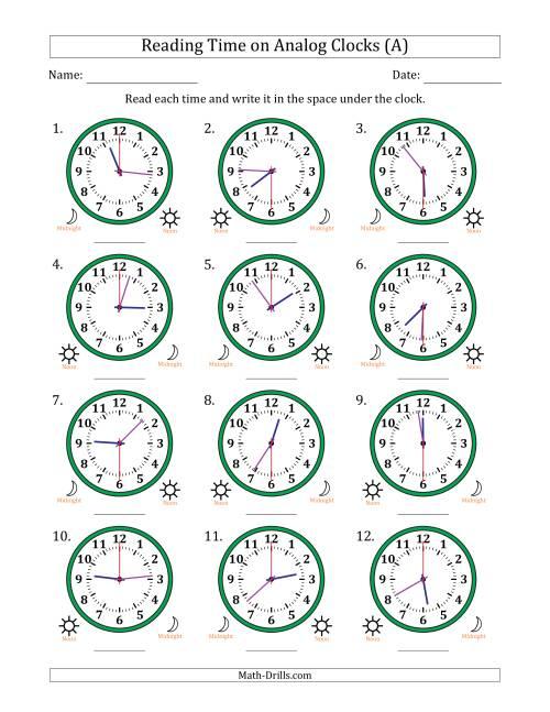 Reading Analog Clock Worksheets