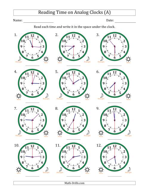 The Reading Time on 12 Hour Analog Clocks in 30 Second Intervals (A) Math Worksheet