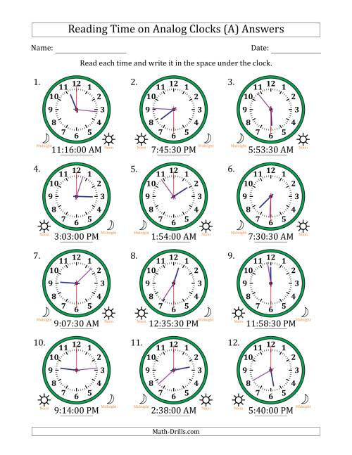 The Reading Time on 12 Hour Analog Clocks in 30 Second Intervals (A) Math Worksheet Page 2