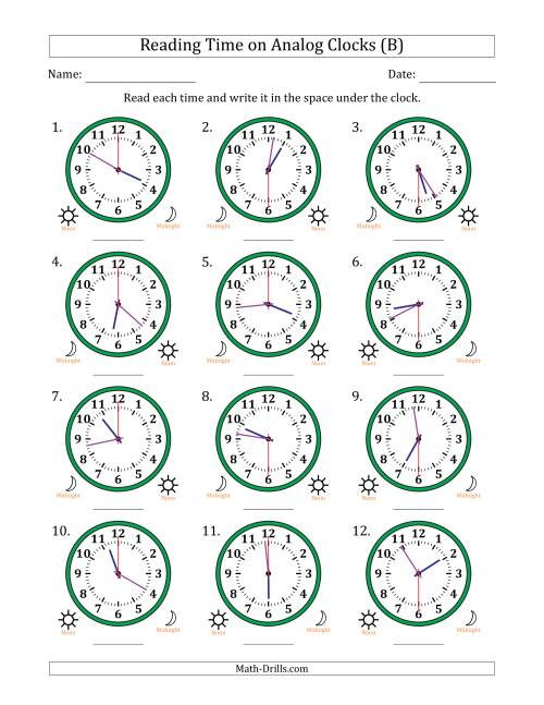 The Reading 12 Hour Time on Analog Clocks in 30 Second Intervals (12 Clocks) (B) Math Worksheet