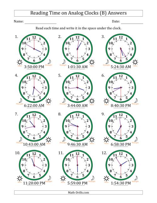 The Reading Time on 12 Hour Analog Clocks in 30 Second Intervals (B) Math Worksheet Page 2