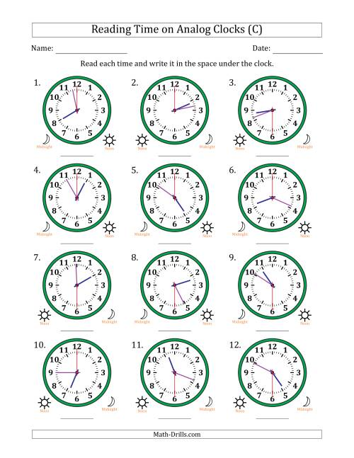 The Reading 12 Hour Time on Analog Clocks in 30 Second Intervals (12 Clocks) (C) Math Worksheet