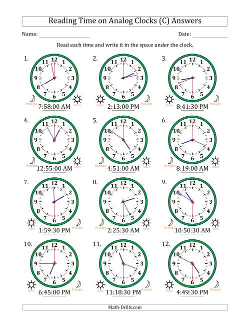 The Reading Time on 12 Hour Analog Clocks in 30 Second Intervals (C) Math Worksheet Page 2