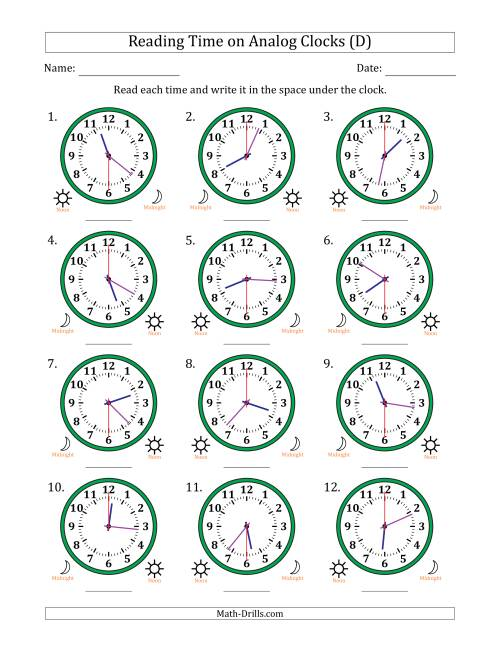 The Reading Time on 12 Hour Analog Clocks in 30 Second Intervals (D) Math Worksheet
