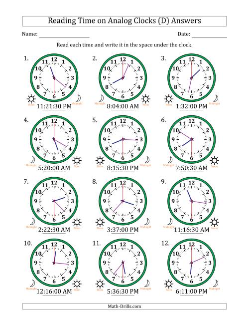 The Reading Time on 12 Hour Analog Clocks in 30 Second Intervals (D) Math Worksheet Page 2
