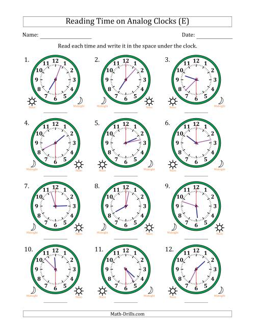 The Reading Time on 12 Hour Analog Clocks in 30 Second Intervals (E) Math Worksheet