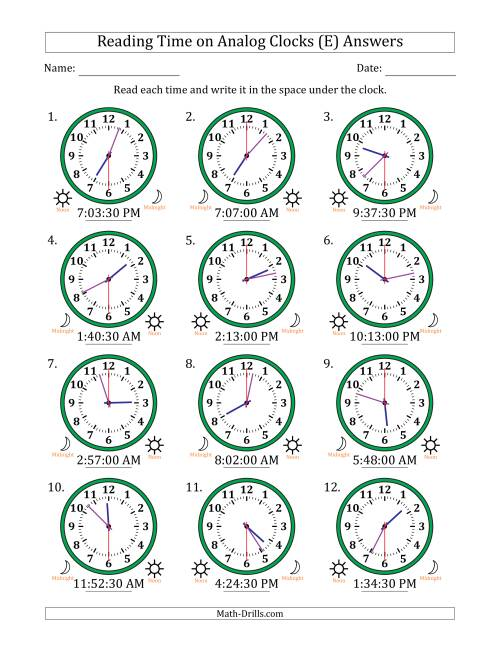 The Reading Time on 12 Hour Analog Clocks in 30 Second Intervals (E) Math Worksheet Page 2