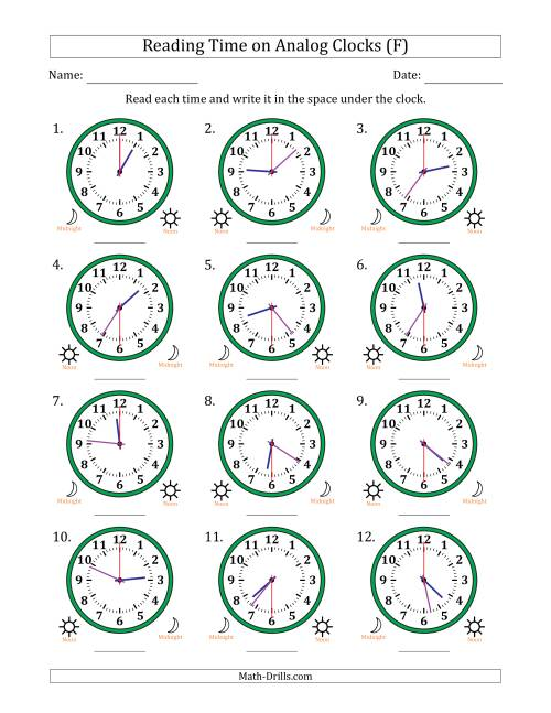 The Reading Time on 12 Hour Analog Clocks in 30 Second Intervals (F) Math Worksheet