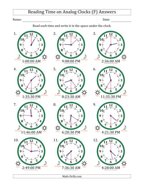 The Reading Time on 12 Hour Analog Clocks in 30 Second Intervals (F) Math Worksheet Page 2