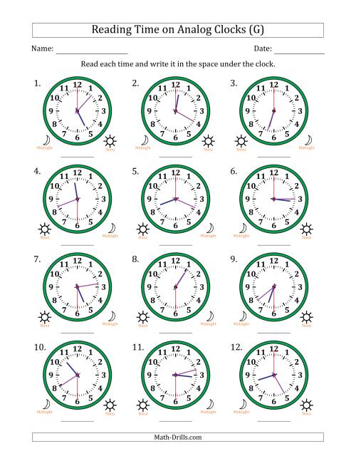 The Reading 12 Hour Time on Analog Clocks in 30 Second Intervals (12 Clocks) (G) Math Worksheet