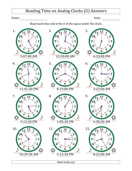 The Reading 12 Hour Time on Analog Clocks in 30 Second Intervals (12 Clocks) (G) Math Worksheet Page 2