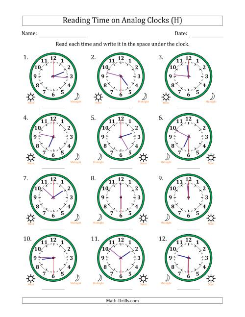The Reading Time on 12 Hour Analog Clocks in 30 Second Intervals (H) Math Worksheet