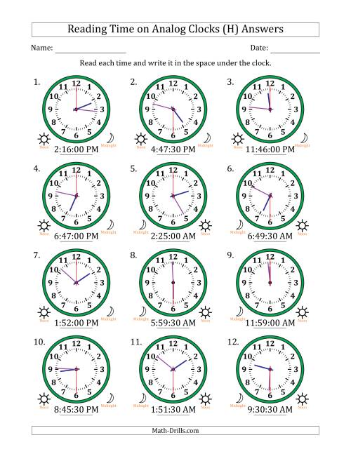 The Reading Time on 12 Hour Analog Clocks in 30 Second Intervals (H) Math Worksheet Page 2