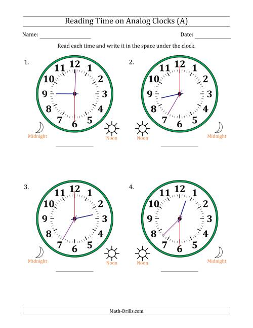 The Reading 12 Hour Time on Analog Clocks in 30 Second Intervals (4 Large Clocks) (A) Math Worksheet