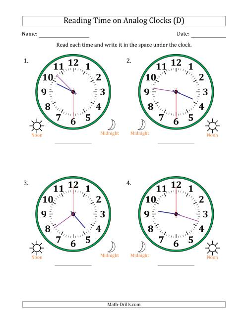 The Reading 12 Hour Time on Analog Clocks in 30 Second Intervals (4 Large Clocks) (D) Math Worksheet