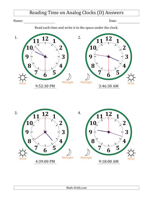 The Reading Time on 12 Hour Analog Clocks in 30 Second Intervals (Large Clocks) (D) Math Worksheet Page 2