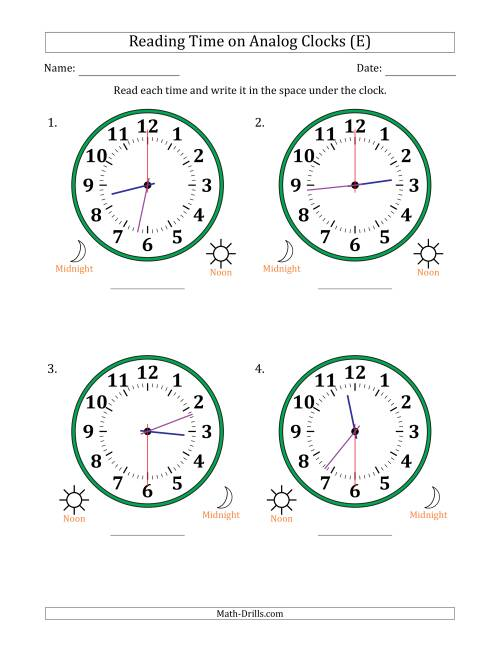 The Reading Time on 12 Hour Analog Clocks in 30 Second Intervals (Large Clocks) (E) Math Worksheet