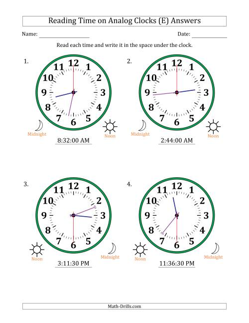 The Reading Time on 12 Hour Analog Clocks in 30 Second Intervals (Large Clocks) (E) Math Worksheet Page 2
