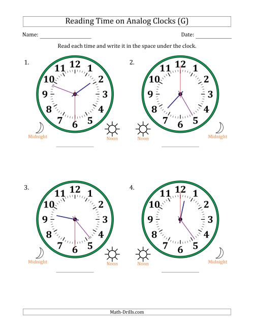 The Reading Time on 12 Hour Analog Clocks in 30 Second Intervals (Large Clocks) (G) Math Worksheet