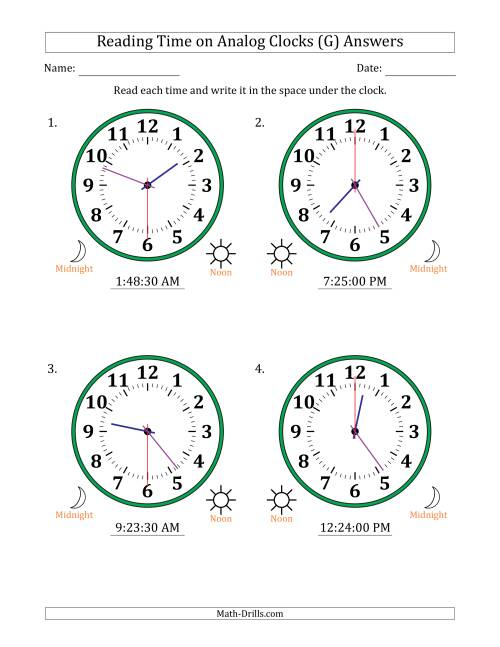 The Reading Time on 12 Hour Analog Clocks in 30 Second Intervals (Large Clocks) (G) Math Worksheet Page 2