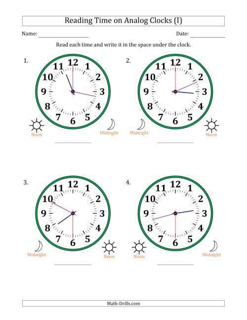 The Reading 12 Hour Time on Analog Clocks in 30 Second Intervals (4 Large Clocks) (I) Math Worksheet