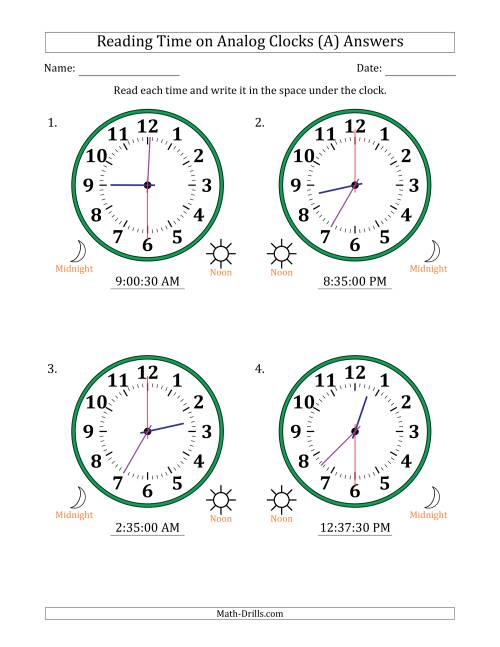 The Reading Time on 12 Hour Analog Clocks in 30 Second Intervals (Large Clocks) (All) Math Worksheet Page 2