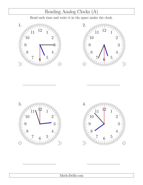 The Reading Time on 12 Hour Analog Clocks in 30 Second Intervals (Large Clocks) (Old) Math Worksheet