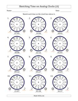Sketching 24 Hour Time on Analog Clocks in 1 Minute Intervals (12 Clocks)